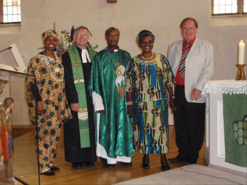 Bishop Kahuthu and Pastor Stierlen together with other participants of the service.