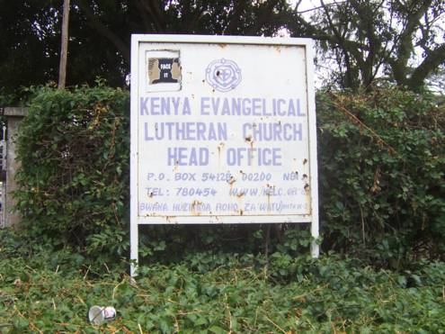 Sign board at entrance to the premises of the Kenya Evangelical Lutheran Church (KELC), Nairobi.